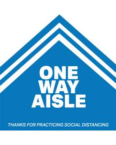 "12"" Five-Sided One Way Aisle Social Distancing Decal"