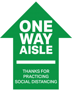 "12"" Height One Way Aisle Arrow - Social Distancing Decal"