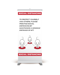 "33"" x 84"" Social Distancing People Illustration Pull-Up Banner"