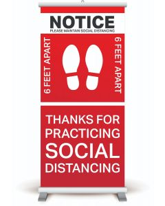 "33"" x 84"" Social Distancing Pull-Up Banner"